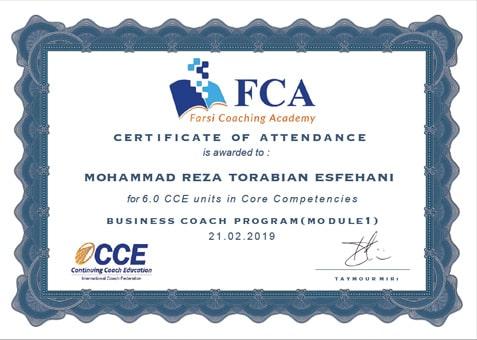 مدرک cce محمدرضا ترابیان